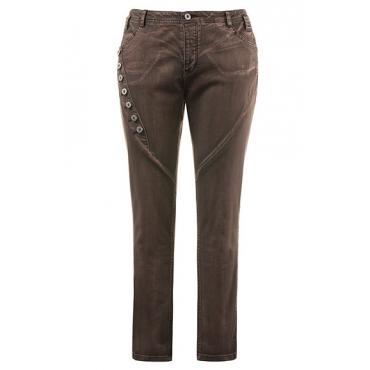 Große Größen Ulla Popken Damen  Jeans, Curvy, Zierknöpfe, weite Oberschenkel, cold dyed, Braun, Gr. 42,44,46,48,50,52,54,56,58,60,62