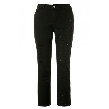 Ulla Popken Damen  Jeans Mia, Destroy-Effekte, 5-Pocket-Form, Ziernieten, schwarz, Gr. 52, Mode in großen Größen