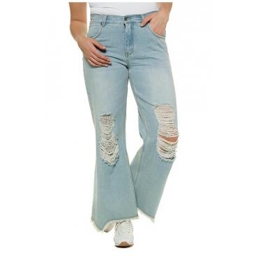 Ulla Popken Damen  Jeans, Destroy-Effekte, ausgestelltes Bein, Komfortbund, light blue, Gr. 52, Mode in großen Größen