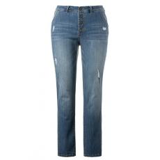 Große Größen Ulla Popken Damen  Jeans, Destroy-Look, 5-Pocket-Form, Metallknöpfe, Blau, Gr. 42,44,46,48,50,52,54,56,58,60