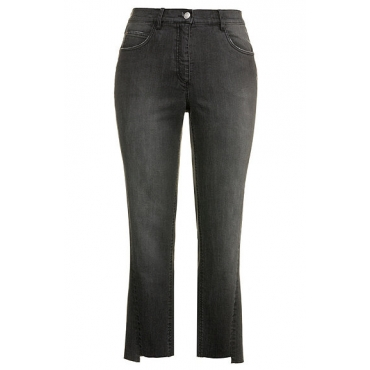 Große Größen Ulla Popken Damen  Jeans, Fransensaum, High-Waist-Form, Stretch, Schwarz, Gr. 42,44,46,48,50,52,54,56,58,60