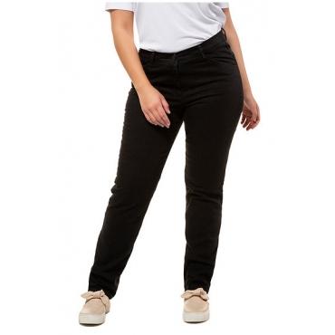Ulla Popken Damen  Jeans, gerades Bein, Stretch, 5-Pocket, PURE, black, Gr. 60, Mode in großen Größen