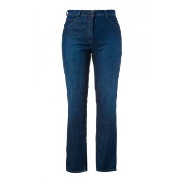 Ulla Popken Damen  Jeans, gerades Bein, Stretchdenim, 5-Pocket, PURE, darkblue, Gr. 60, Mode in großen Größen