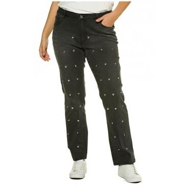 Ulla Popken Damen  Jeans, Herznieten, Straight Fit, 5-Pocket-Form, anthrazit, Gr. 50, Mode in großen Größen