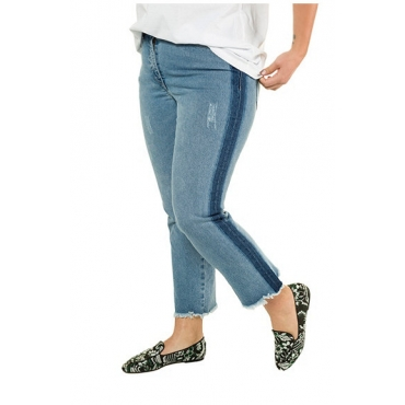 Studio Untold Damen  Jeans, knöchellange Bootcut, Seitenstreifen, 5-Pocket, blue denim, Gr. 54, Mode in großen Größen