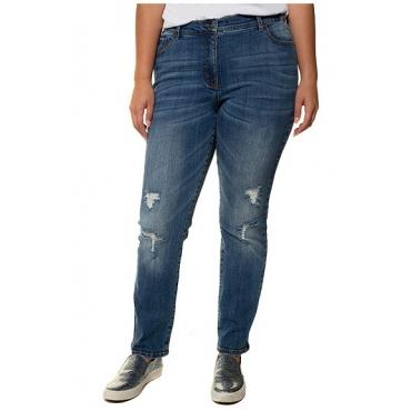 Ulla Popken Damen  Jeans Mandy, Destroy-Effekte, weites Bein, vorgewaschen, light blue, Gr. 50, Mode in großen Größen