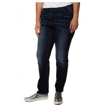 Ulla Popken Damen  Jeans Mandy, Wascheffekte, weites Bein, Stretchkomfort, blue denim, Gr. 56, Mode in großen Größen