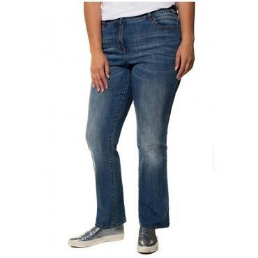 Ulla Popken Damen  Jeans Mandy, Wascheffekte, weites Bein, Stretchkomfort, light blue denim, Gr. 56, Mode in großen Größen