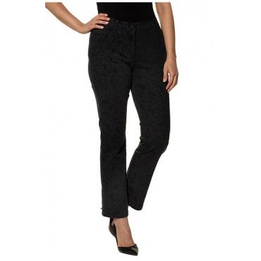 Ulla Popken Damen  Jeans Mandy, florales Design, weites Bein, selection, schwarz, Gr. 56, Mode in großen Größen