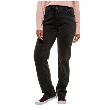 Ulla Popken Damen  Jeans Marie, Wascheffekte, weites Bein, 5-Pocket-Form, grey, Gr. 60, Mode in großen Größen