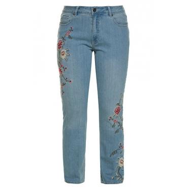 Ulla Popken Damen  Jeans Mia, Blütenstickerei, 5-Pocket-Form, hohe Leibhöhe, light blue, Gr. 54, Mode in großen Größen