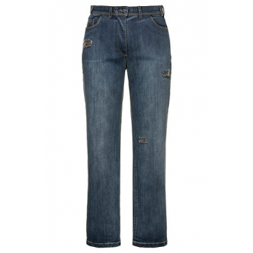 Ulla Popken Damen  Jeans Mona, gerade, Perlenstickerei, Destroy-Effekte, blue denim, Gr. 62, Mode in großen Größen