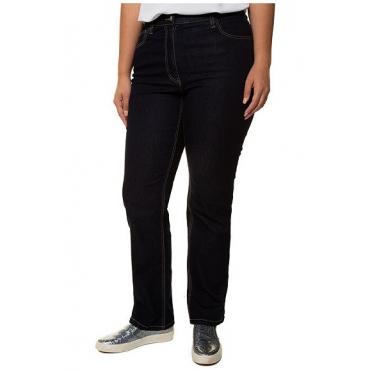 Ulla Popken Damen  Jeans Mona, weites Bein, Elastikbund, 5-Pocket-Modell, darkblue, Gr. 54, Mode in großen Größen