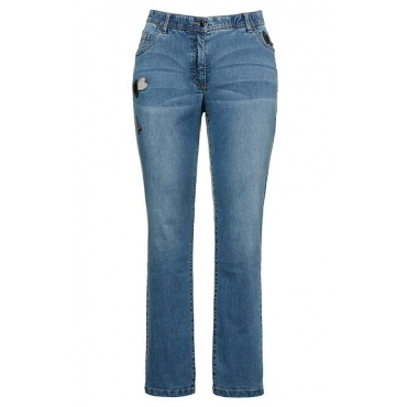 Ulla Popken Damen  Jeans Sammy, Patches, schmales Bein, Komfortbund, light blue, Gr. 60, Mode in großen Größen