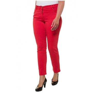 Ulla Popken Damen  Jeans Sammy, schmales Bein, 4-Pocket-Form, Stretchkomfort, rot, Gr. 62, Mode in großen Größen