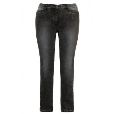 Ulla Popken Damen  Jeans Sammy, silberne Paspel, schmales Bein, grau, Gr. 62, Mode in großen Größen