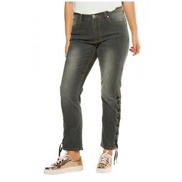 Studio Untold Damen  Jeans, seitliche Schnürung, Straight Fit, Stretch, grey, Gr. 54, Mode in großen Größen