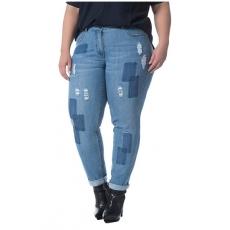 Große Größen Ulla Popken Damen  Jeans, Skinny, Patches, Destroy-Effekte, Reißverschluss, Stretch-Denim, Blau, Gr. 44,46,48,50,52