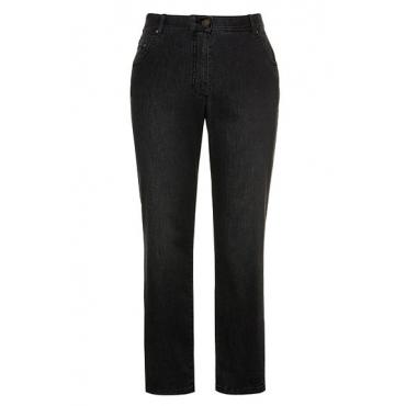 Ulla Popken Damen  Jeans Sophie, Elastikbund, gerades Bein, 5-Pocket-Form, schwarz, Gr. 62, Mode in großen Größen