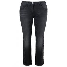 Große Größen Ulla Popken Damen  Jeans, Strass, schmales Bein, 5-Pocket-Form, Schwarz, Gr. 42,44,46,48,50,52,54,56