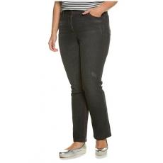 Große Größen Ulla Popken Damen  Jeans, Used-Effekte, Straight, Stretchkomfort, Schwarz, Gr. 42,44,46,48,50,52,54