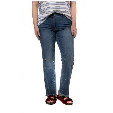 Studio Untold Damen  Jeans, vorgewaschen, Glitzersteinchen, 5-Pocket, darkblue, Gr. 54, Mode in großen Größen