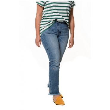 Studio Untold Damen  Jeans, vorgewaschen, bunte Glitzersteinchen, 5-Pocket, blue denim, Gr. 54, Mode in großen Größen