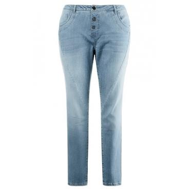 Ulla Popken Damen  Jeans, weite Oberschenkel, schmale Waden, Used-Look, light blue, Gr. 46, Mode in großen Größen