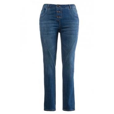Ulla Popken Damen  Jeans, weite Oberschenkel, schmale Waden, Used-Look, mittelblau, Gr. 42, Mode in großen Größen