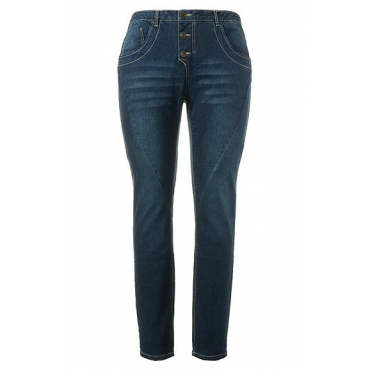 Große Größen Ulla Popken Damen  Jeans, weite Oberschenkel, schmale Waden, Ziernähte, Used-Look, Blau, Gr. 46,48,50,52,56