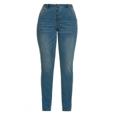 Große Größen Ulla Popken Damen  Jeans, weite Oberschenkel, schmale Waden, Ziernähte, Used-Look, Blau, Gr. 46,50,52,56