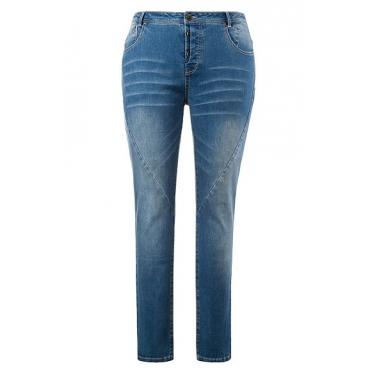 Ulla Popken Damen  Curvy-Jeans, Ziernähte vorne, halbverdeckte Knopfleiste, blue, Gr. 58, Mode in großen Größen