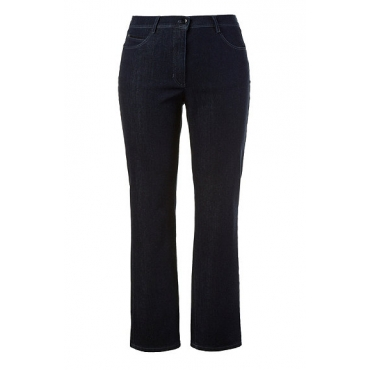 Ulla Popken Damen  Jeans, Ziersteine, 5-Pocket-Form, Selection, dunkelblau, Gr. 62, Mode in großen Größen