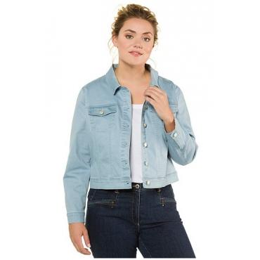 Ulla Popken Damen  Jeansjacke, extraweich, kurze Form, Hemdkragen, himmelblauer topas, Gr. 56, Mode in großen Größen
