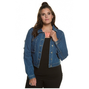 Studio Untold Damen  Jeansjacke, Volant, kurze Form, Metallknöpfe, blue denim, Gr. 52, Mode in großen Größen