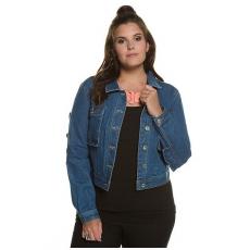 Große Größen Ulla Popken Damen  Jeansjacke, Volant, kurze Form, Metallknöpfe, Blau, Gr. 42,44,46,48,50,52,54