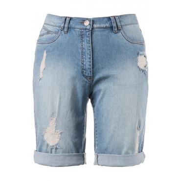 Ulla Popken Damen  Jeansshorts, Destroy-Effekte, 5-Pocket-Modell, light blue, Gr. 58, Mode in großen Größen