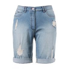 Große Größen Ulla Popken Damen  Jeansshorts, Boyfriend, Destroy-Effekte, 5-Pocket-Modell, Blau, Gr. 42,44,46,48,50,52,54,56