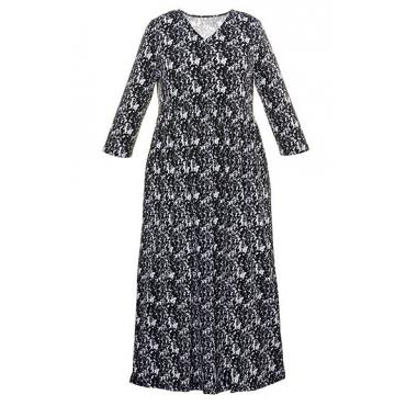 Große Größen Ulla Popken Damen  Jersey-Kleid, verschiedene Muster, A-Line, V-Ausschnitt, bis Gr. 66/68, Schwarz, Gr. 66/68,46/48,50/52,54/56,58/60,62/64
