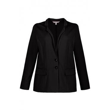 Ulla Popken Damen  Jerseyblazer, Reverskragen, schwarz, Gr. 56, Mode in großen Größen