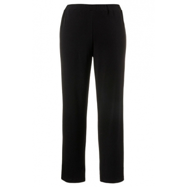 Ulla Popken Damen  Jerseyhose, Rundum-Gummibund, gerades Bein, Stretch, schwarz, Gr. 42/44, Mode in großen Größen