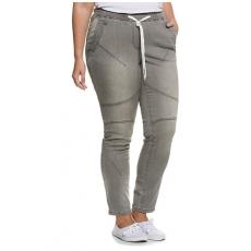 Große Größen Ulla Popken Damen  Jogg-Jeans, elastischer Denim, Kordel, Gummibund, Steppnähte, Grau, Gr. 42,44,46,48,50,52,54