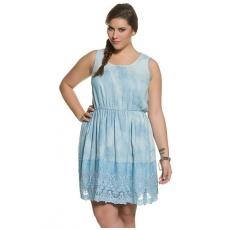 Große Größen Ulla Popken Damen  Kleid, Batikoptik, elastische Quernaht, Spitzenborte, ärmellos, Blau, Gr. 42,44,46,48,50,52,54