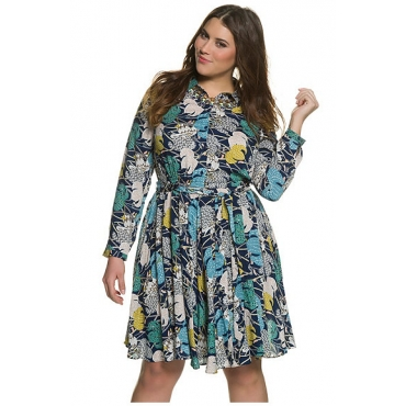 Große Größen Ulla Popken Damen  Kleid, elastische Quernaht, Bindegürtel, schwingender Rock, Mehrfarbig, Gr. 42,44,46,48,50,52,54