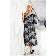 Große Größen Ulla Popken Damen  Kleid, geblümter Jersey, V-Ausschnitt, A-Line, bis Gr. 66/68, Mehrfarbig, Gr. 46/48,50/52,54/56,58/60,62/64,66/68