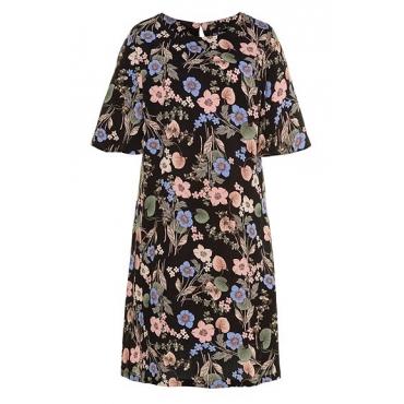 Ulla Popken Damen  Kleid, gemustert, A-Linie, Glockenärmel, Krepp, schwarz-geblümt, Gr. 46, Mode in großen Größen