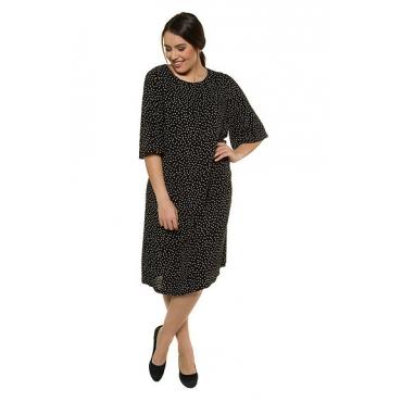 Ulla Popken Damen  Kleid, gemustert, A-Linie, Glockenärmel, Krepp, schwarz-weiß, Gr. 50, Mode in großen Größen