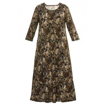 Große Größen Ulla Popken Damen  Kleid, gemusterter Jersey, 3/4-Ärmel, A-Line, bis Gr. 66/68, Mehrfarbig, Gr. 46/48,50/52,54/56,58/60,62/64