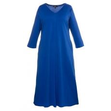 Große Größen Ulla Popken Damen  Kleid, Jersey, 3/4-Ärmel, A-Line, bis Gr. 66/68, Blau, Gr. 42/44,46/48,50/52,54/56,58/60,62/64,66/68