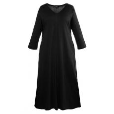 Große Größen Ulla Popken Damen  Kleid, Jersey, 3/4-Ärmel, A-Line, bis Gr. 66/68, Schwarz, Gr. 42/44,46/48,50/52,54/56,58/60,66/68